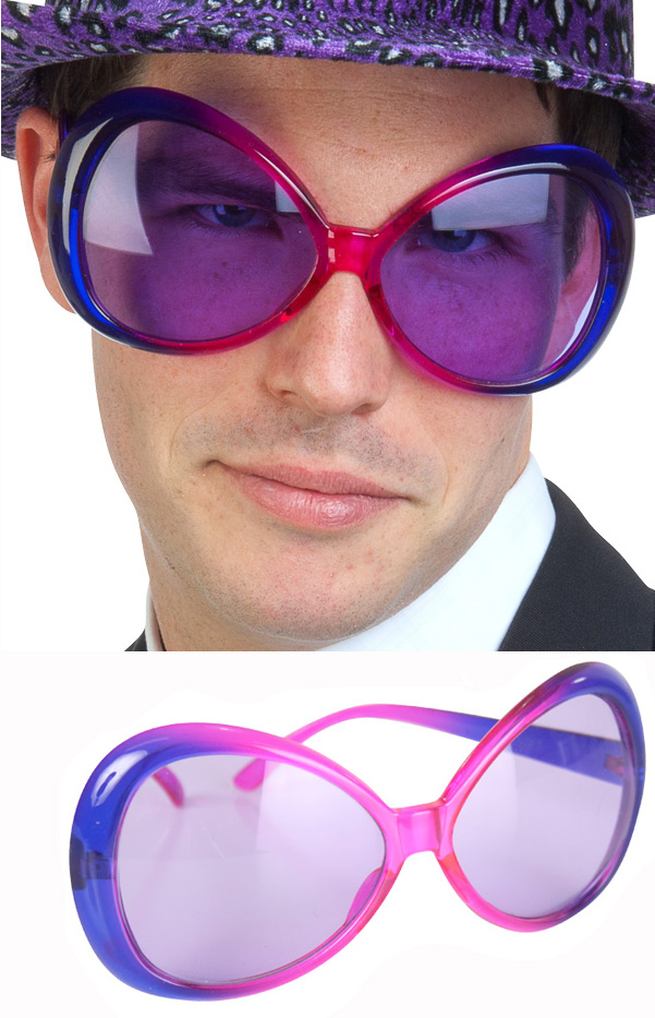 PIMP/MOVIE STAR SUPERSIZED NOVELTY GLASSES - PURPLE & PINK