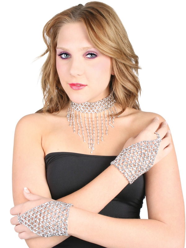 1920'S BEADED CHOKER & GLOVE SET DELUXE SHOWGIRL LOOK - SILVER