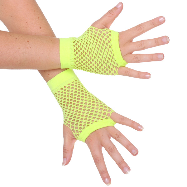 1980'S STYLE FINGERLESS FISHNET GLOVES - FLURO YELLOW