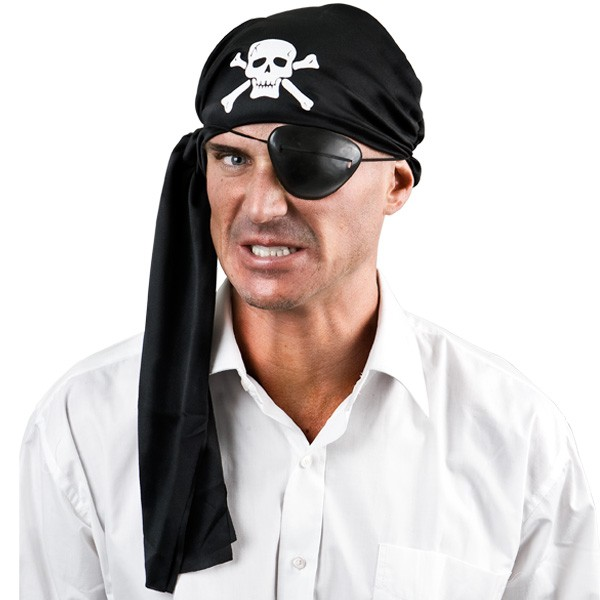 PIRATE SKULL & CROSSBONES BANDANA & EYEPATCH KIT
