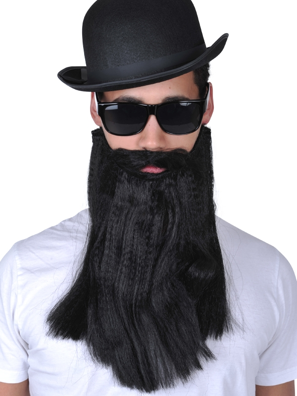 BEARD & MOUSTACHE - BLACK STRAIGHT LONG