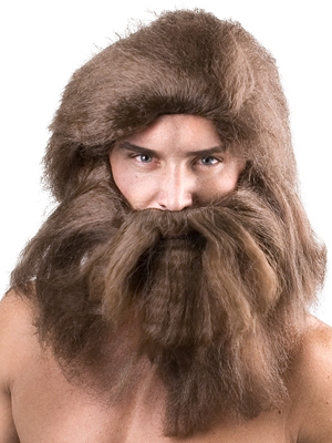 CAVEMAN WIG, BEARD & MOUSTACHE BROWN