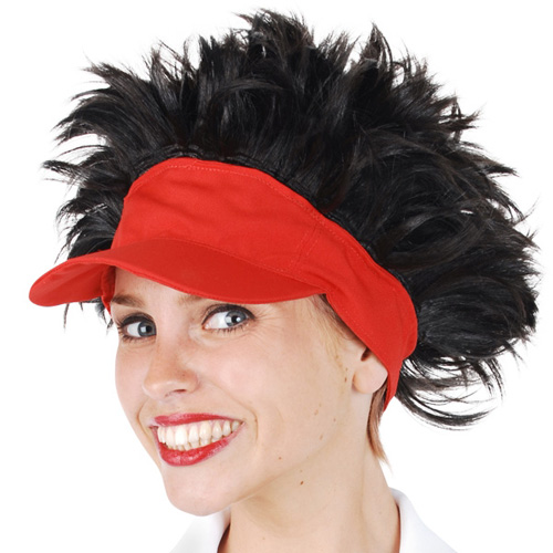 TENNIS VISOR RED WITH BLACK HAIR