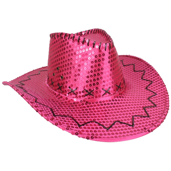 COWBOY HAT HOT PINK SEQUIN
