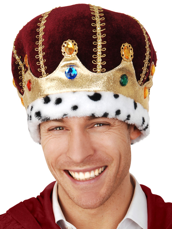 CROWN - SOFT BURGUNDY WITH GOLD, JEWELS & ERMINE TRIM