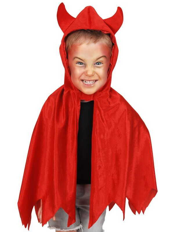 CHILD\'S RED DEVIL CAPE WITH HORNS