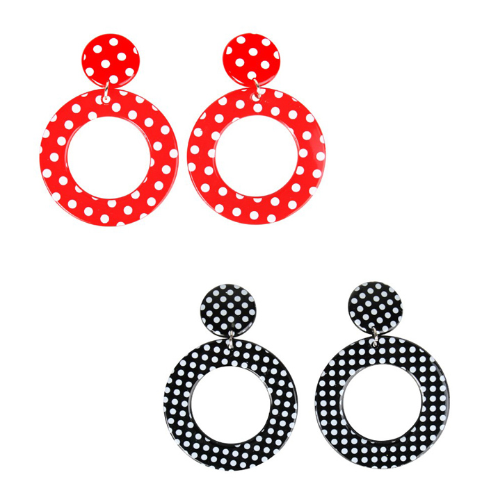 Image of 1960's Style Dangle Hooped Clip On Earrings  Polka Dot