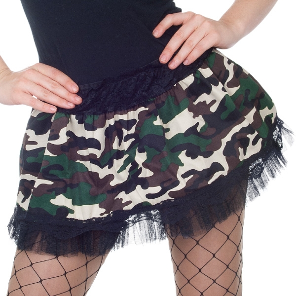 CAMOUFLAGE & BLACK SKIRT WITH TULLE HEMLINE TO FIT 8-12