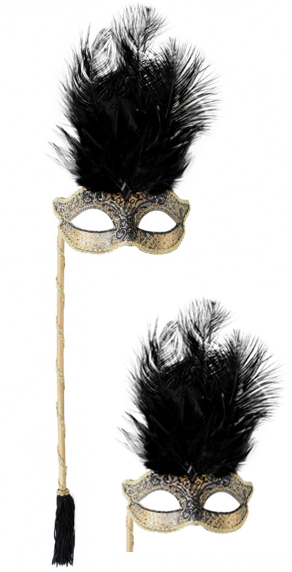 MASK - OPERA GOLD FEATHER WITH STICK