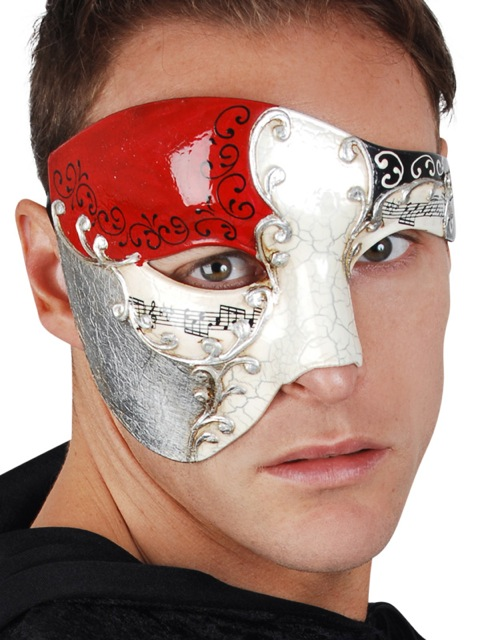 MASK - MAESTRO RED & SILVER HALF FACE EYE MASK