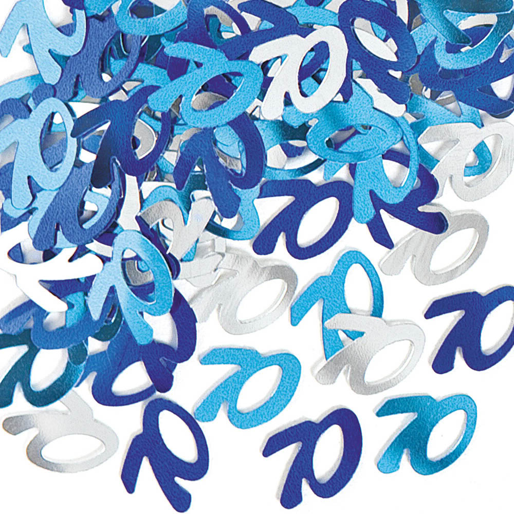 GLITZ BLUE & SILVER 70TH BIRTHDAY SCATTERS