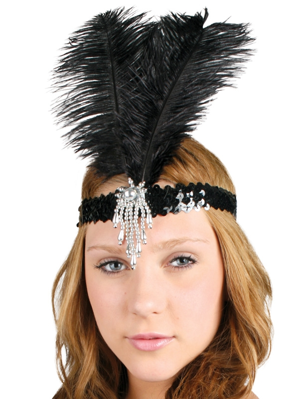 FLAPPER / 1920'S FEATHER HEADDRESS CLARA BELLE - BLACK & SILVER