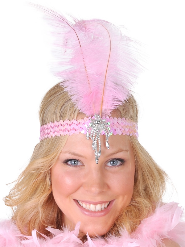FLAPPER / 1920'S FEATHER HEADDRESS CLARA BELLE - PINK & SILVER