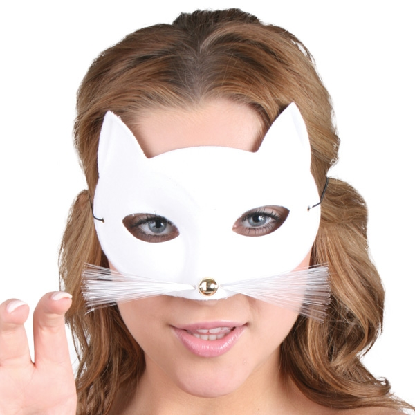 MASK - WHITE CAT WITH WHISKERS