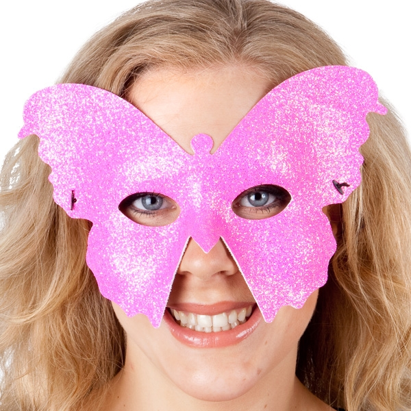 MASK - FLURO PINK SPARKLE BUTTERFLY
