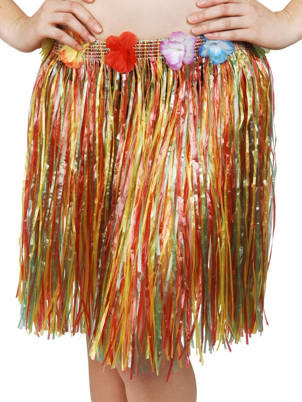 HAWAIIAN HULA SKIRT SHORT - MULTI COLOURED SKIRT