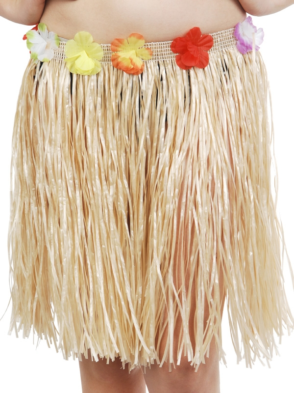 HAWAIIAN HULA SKIRT SHORT NATURAL - FLOWERED WAIST
