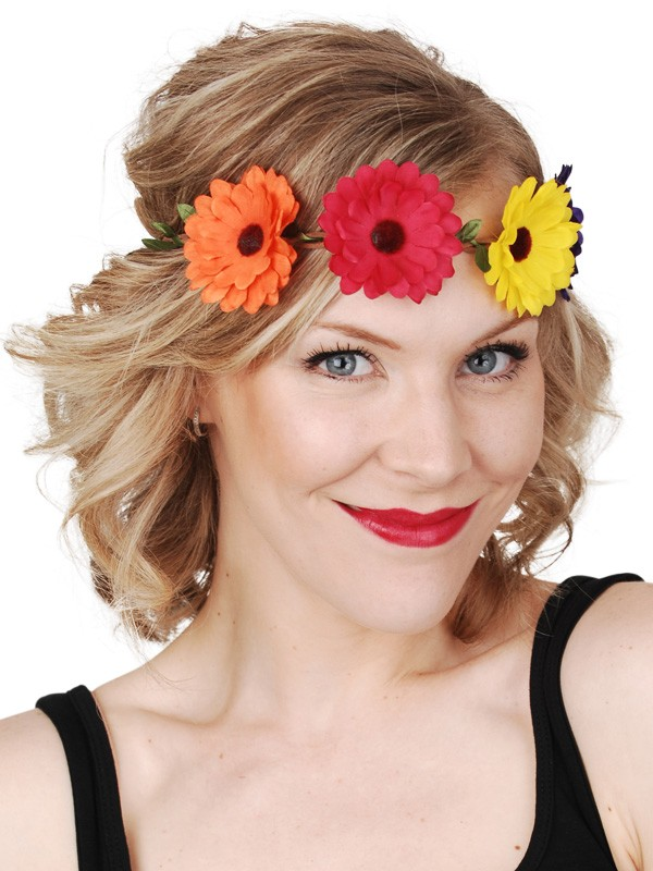HIPPIE OR HAWAIIAN STYLE GERBERA FLOWER HEADBAND