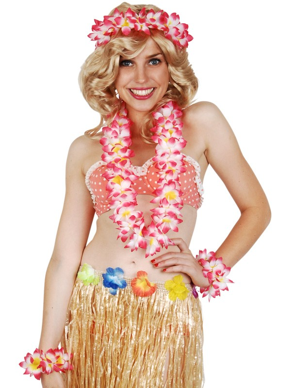 HAWAIIAN FLOWER LEI, HEAD PIECE AND BRACELET SET - PINK
