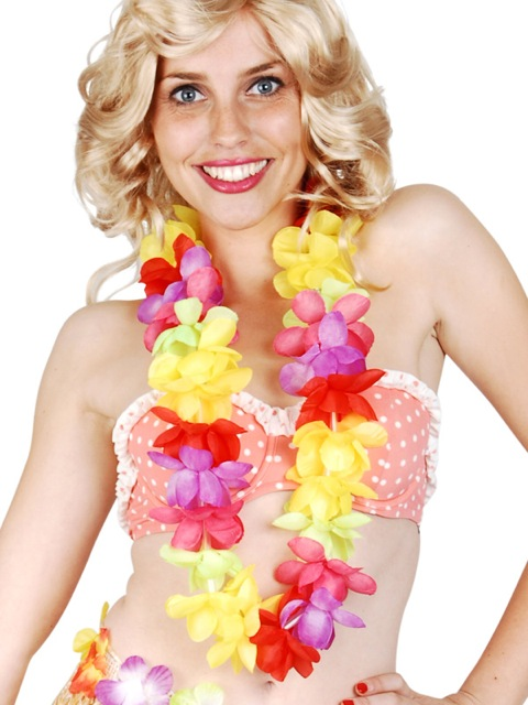 HAWAIIAN FLOWER LEI WITH FLASHING L.E.D LIGHTS