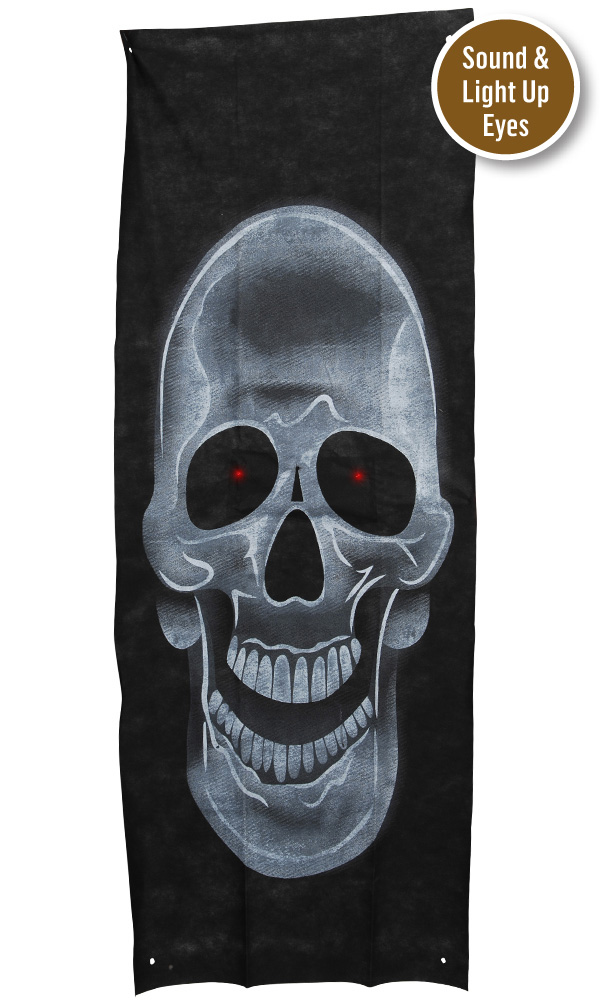 DOOR CURTAIN - LIGHT UP SKULL WITH SOUND