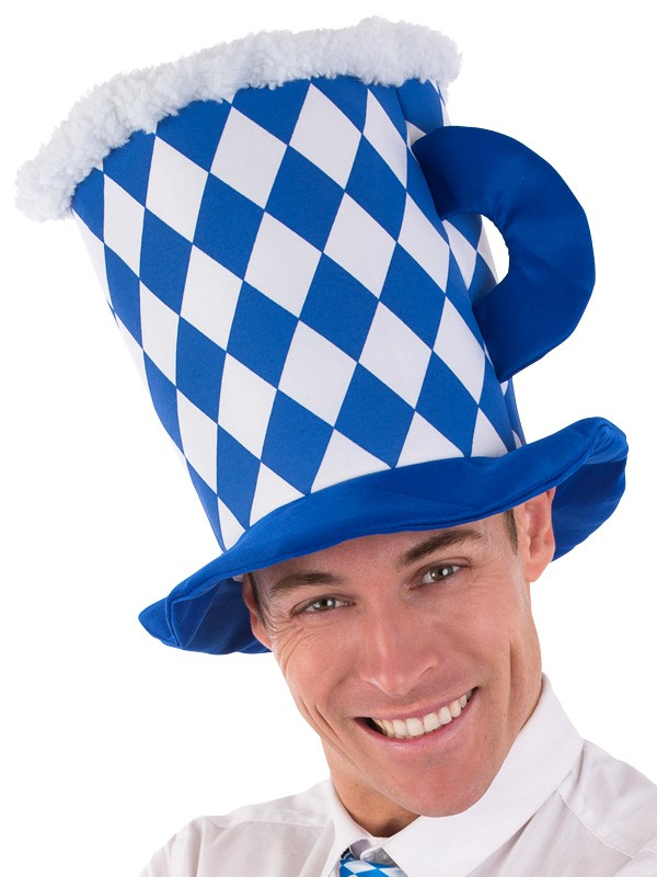 OKTOBERFEST BLUE & WHITE CHECK BEER MUG HAT