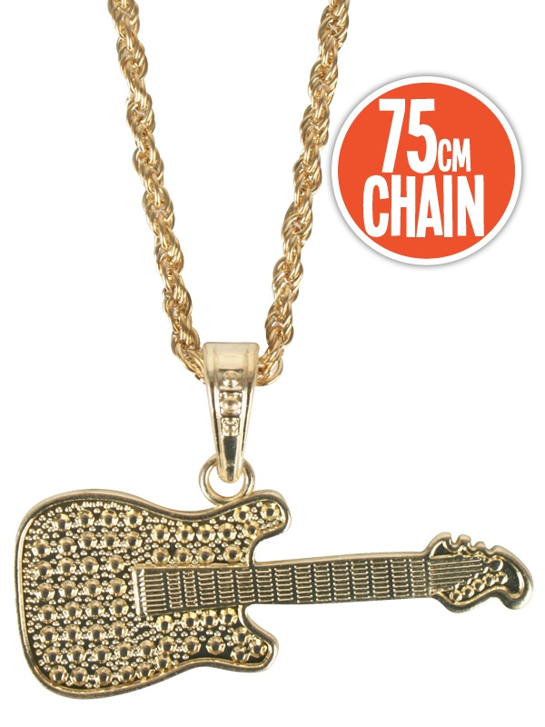 HIP HOP/PIMP GOLD GUITAR & CHAIN NECKLACE