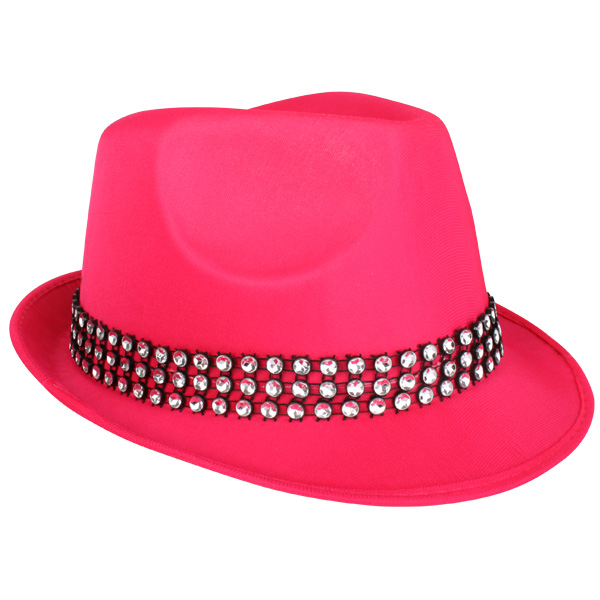 HOT PINK TRILBY HAT WITH SEQUINS