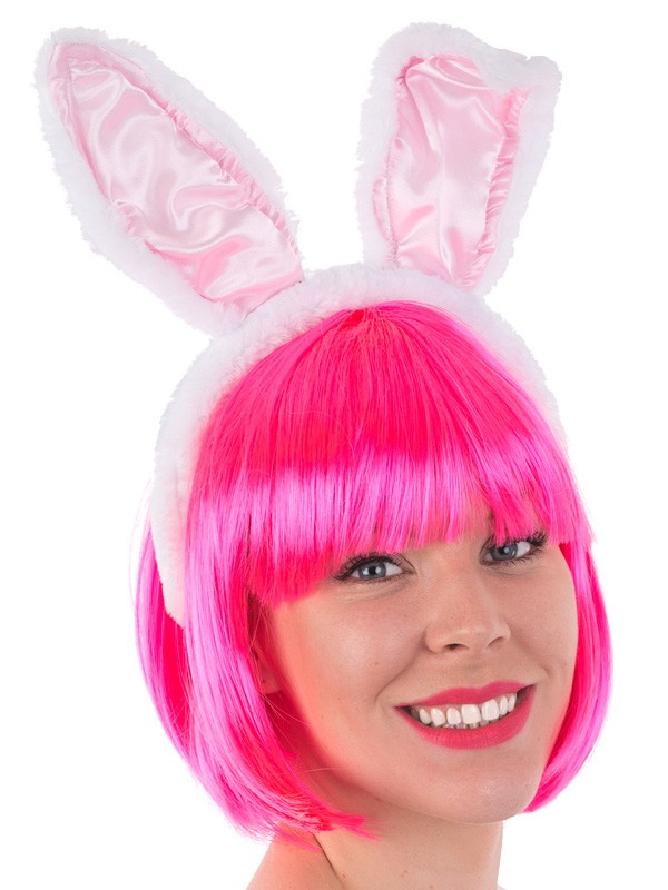 BUNNY EARS ON A HEADBAND PINK & WHITE