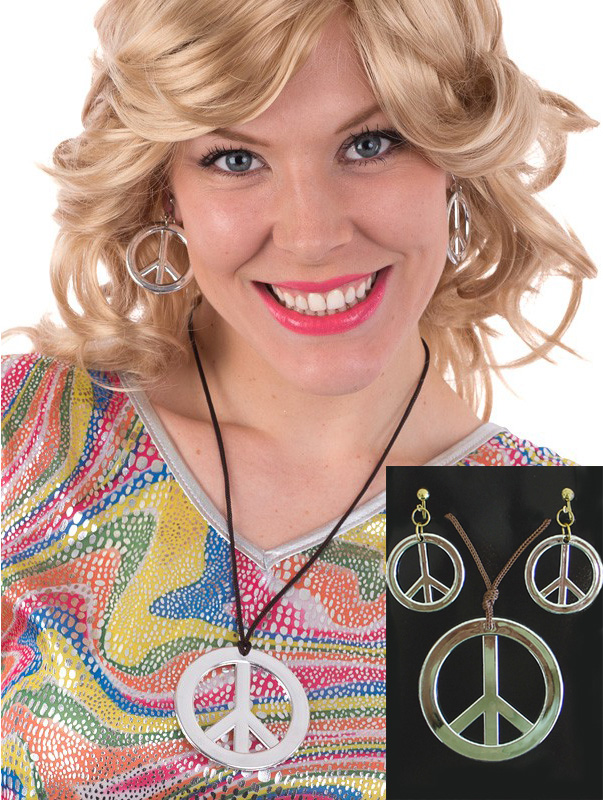 HIPPIE PEACE SIGN NECKLACE AND EARRING SET