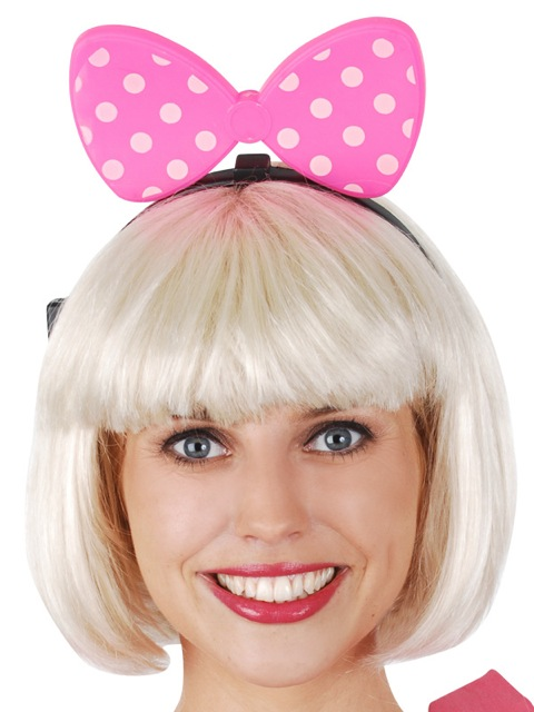 MINNIE BOW LIGHT UP HEADBAND - PINK WITH WHITE POLKA DOTS