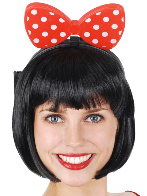 MINNIE BOW LIGHT UP HEADBAND - RED WITH WHITE POLKA DOTS
