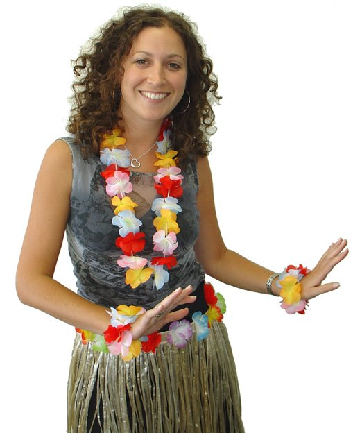 HAWAIIAN FLOWER LEI - NECKLACE & BRACELET SET