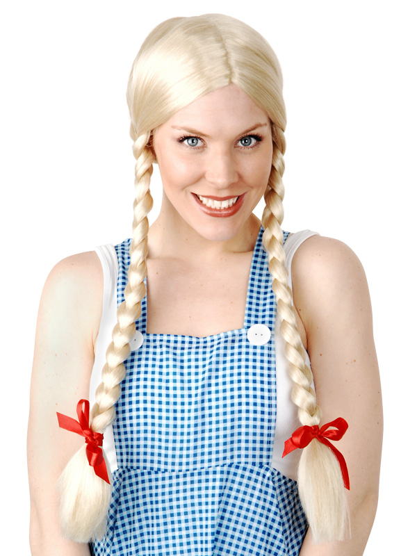 INGE LONG BLONDE PLAITS WIG WITH RED BOWS