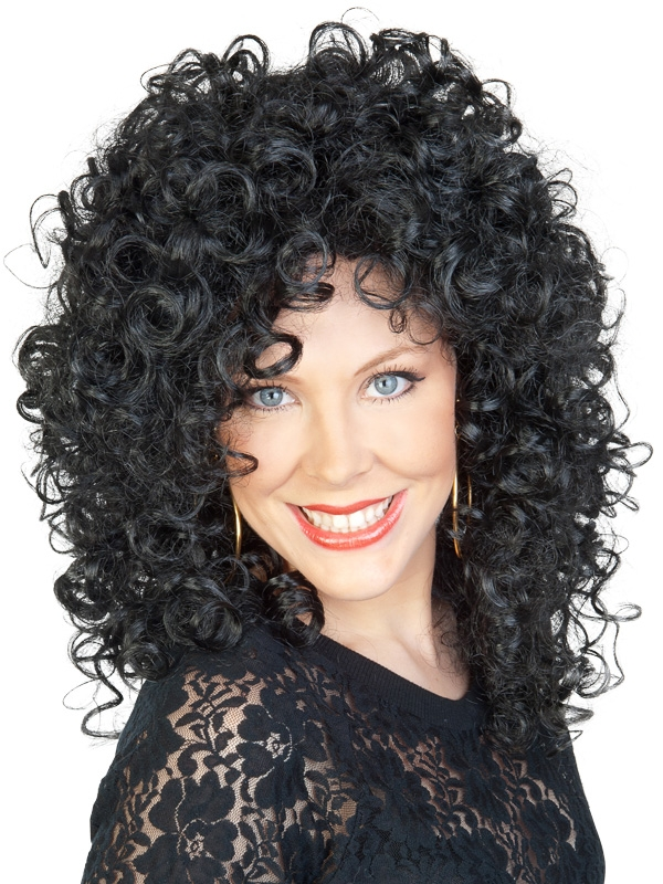 CURLY LONG BLACK CHER WIG