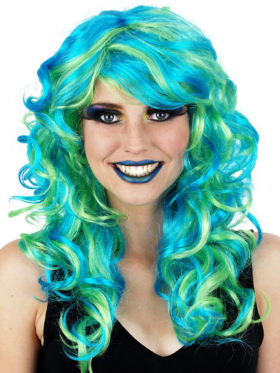 MARISSA SOFT CURL WIG IN BLUE & GREEN