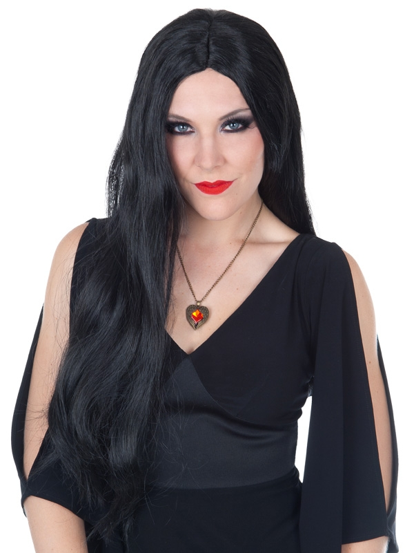 LONG BLACK MORTICIA WIG