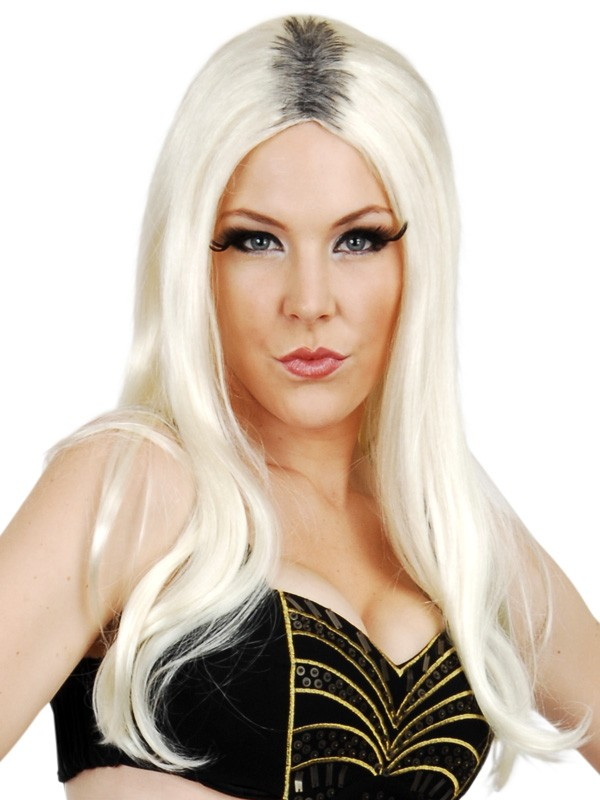 NIKKI BLONDE WIG WITH BLACK ROOTS