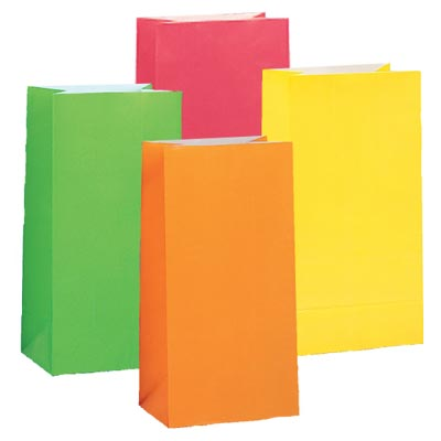 PAPER LOOT BAGS - NEON ASSORTED - PACK OF 10