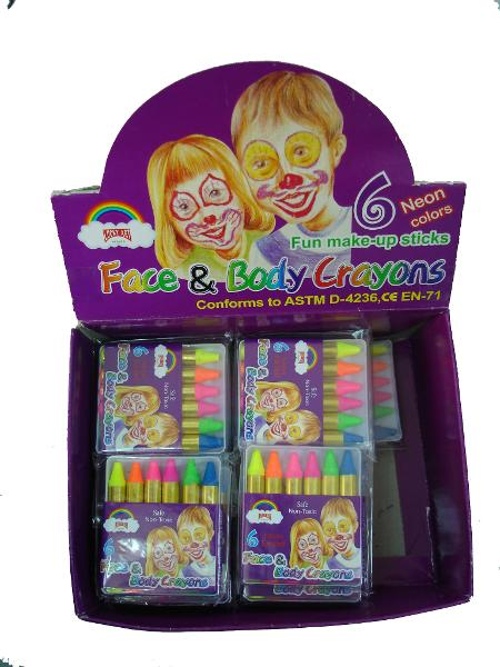FACE AND BODY CRAYONS - NEON COLOURS PACK OF 6 - LAST PACK!