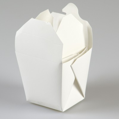 WHITE WAXED CARDBOARD NOODLE BOXES PACK OF 10 - 16oz