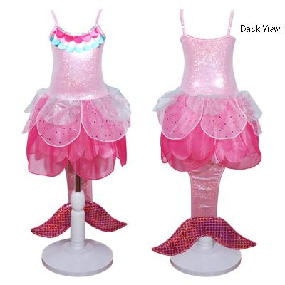 GIRLS MERMAID COSTUME PINK 5-6 YEARS - NEW DESIGN
