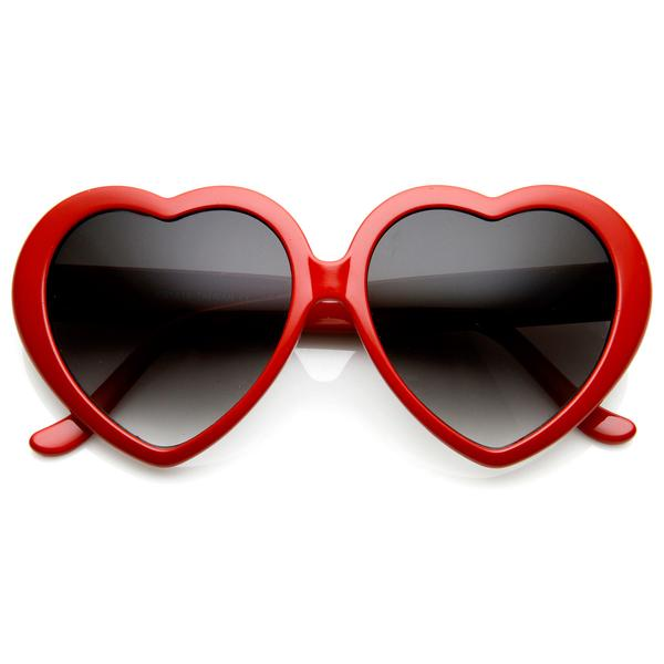 LOLITA HEART SHAPED GLASSES - RED
