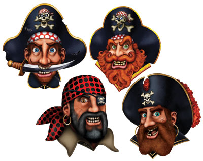 PIRATE CREW CUTOUTS PK OF 4