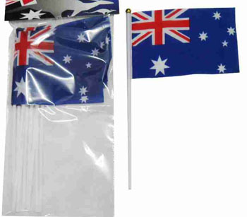 AUSTRALIAN PLASTIC SMALL FLAGS PK 6