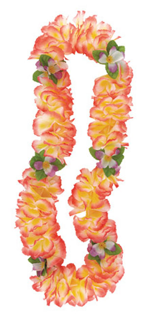 HAWAIIAN FLOWER LEI FANCY ORCHID PINK & YELLOW