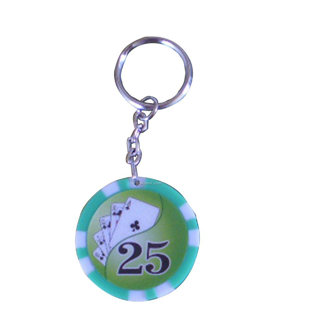 PARTY FAVOURS - POKER CHIP KEY RING IN ASSORTED DESIGNS