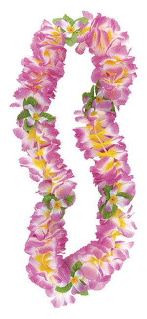 HAWAIIAN FLOWER LEI FANCY ORCHID PURPLE & YELLOW