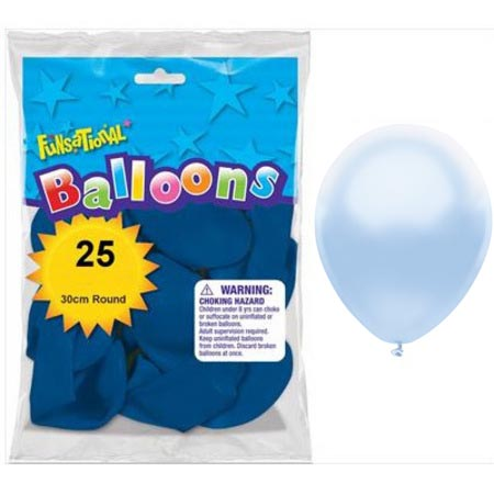 BALLOONS LATEX - FUNSATIONAL PEARL BABY BLUE PACK OF 25