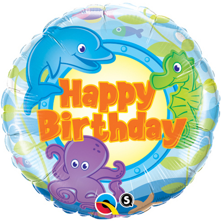 FOIL BALLOON - 'HAPPY BIRTHDAY' SEA ANIMALS